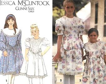 Simplicity 8253 Jessica McClintock Gunne Sax Girls Dress Pattern, 7-12, UNCUT