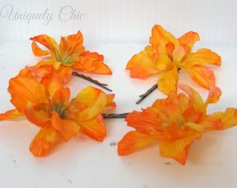 Orange flower hair pins, Wedding hair accessories, Bridal hair pins, Flower girl hair pin, Prom hair, Wedding accessories