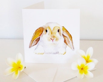 Rabbit cards, Animal note cards, Bunny card, gift idea, handmade, watercolour painting