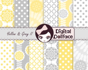 Yellow and Gray Digital Paper, Flower, Polka Dot & Quatrefoil Pattern Paper Decoupage