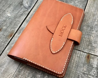 Personalised Leather Journal Cover, Large Refillable Notebook Holder, Handmade and Hand Stitched, Premium Full Grain Leather