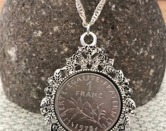 "1978 France French 1 Franc Coin Necklace Pendant.  40th Birthday.  Olive Branch. 18"" Chain with 3"" Extender"