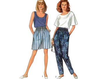 Women's Elastic Waist Pants or Shorts, Top and Tank Top Sewing Pattern, Misses' Size 10-12-14-16-18-20 Uncut Simplicity 8254