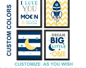 rocket nursery, outer space nursery, moon and stars boys room decor, space baby, I love you to the moon and back, rocket baby boy room art