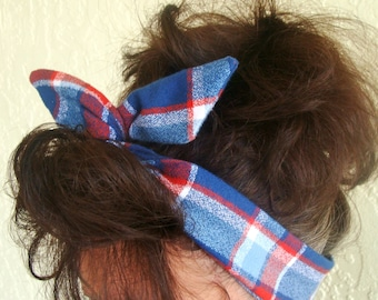 Flannel Dolly Bow Wire Headband Blue Red Plaid Flannel Winter Red White Flannel Rockabilly Pin Up Hair Accessory for Teens Women Girls