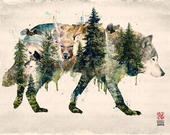 Wolf Pride a natural animals surrealism forest mountains digital art signed premium quality giclée print
