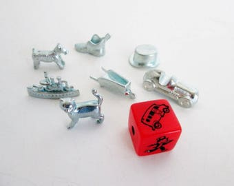 Monopoly Game Pieces, New Cat Token, Red Speed Die, Pewter Metal Charms, Jewelry Making Crafting Supplies, scottie dog