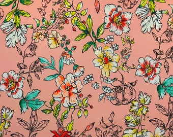 Stretch cotton printed flowers and leaves
