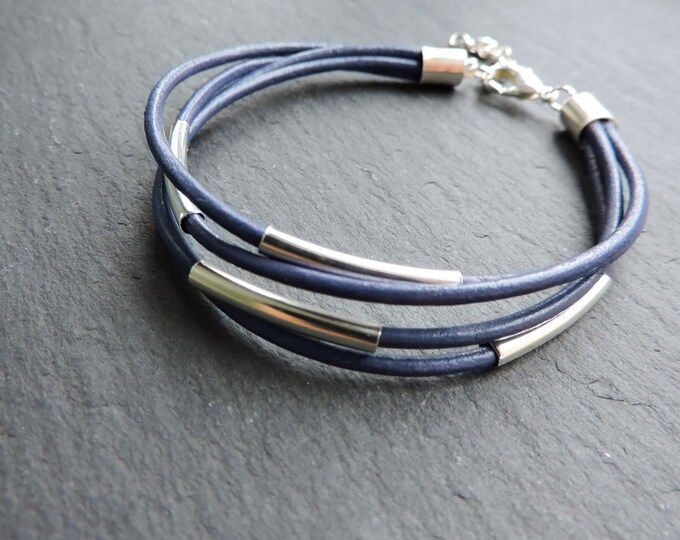 Featured listing image: Purple Leather & Silver Multi-strand Bracelet - Dark Lilac Indigo leather cord strand bead wrap bracelet with silver tube bar detail