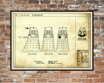 Dr Who Dalek Print Poster, Dr Who Blueprint, Dalek Blueprint, Whovian Gift Exterminate Print Art Item 0219c