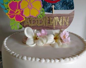 PREMIUM Moana/Hawaiian Theme, Moana and Heart of Tefiti Cake Topper, Moana's canoe on sand with shells, version 1