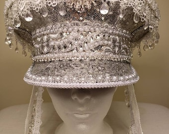 Festival captain captains cap hat in silver, white and pearl. Wedding. Burning man