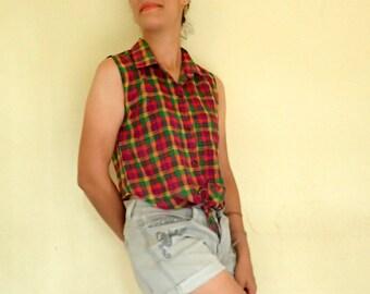 rainbow top /  sleeveless blouse / checked shirt / tied waist shirt