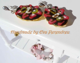 Earrings miniature chocolate and strawberry pie- silver