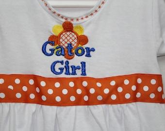 Florida, toddler, dress, t shirt dress, Gators, baby girl clothes, 2t clothes, Florida gators, orange, blue,  football, toddler dress