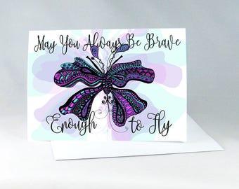 Handmade Encouragement Card, Butterfly Card, Best Friend Card, Birthday Card, New Home Card, Congratulations Card, Good Vibes Only 1130A