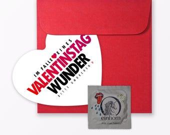 """3-teiliges Set Design VALENTINSTAGSKARTE """"Wunder von Valentinstag"""" inkl. Umschlag & Kondom"""