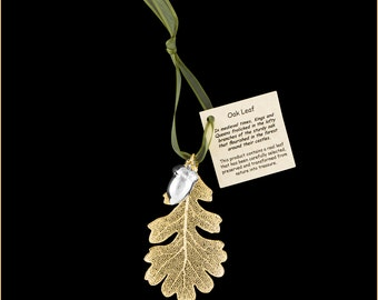 Real 24k Gold Oak with Silver Acorn Double Ornaments with Ribbon and Hang Tag - Christmas Ornaments