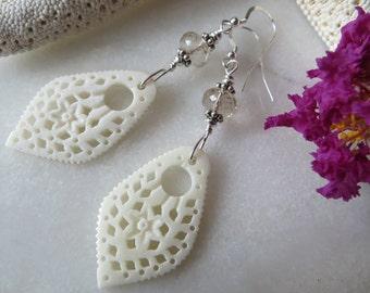Hand Carved Bone Earrings, November Birthstone Earrings, Ivory Earrings, Topaz Earrings, Sterling Silver Earrings, Lightweight Statement