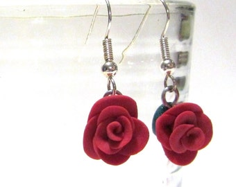 Red Rose Earrings Polymer Clay