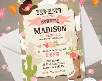 Cowgirl invitation etsy cowgirl invitation cowgirl birthday invitation cowgirl birthday party western cowgirl invite cow print cowboy hat boots filmwisefo Images