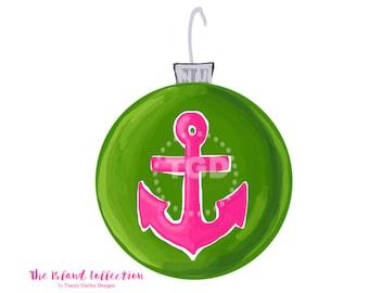 Preppy Anchor Christmas Ornament Clip Art - preppy pink and green ornament clip art, Christmas clip art, Tracey Gurley Designs