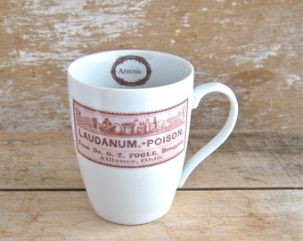 Antique Poison Label Mug,  Arsenic Laudanum Poison,  Skeletons, Skull and Crossbones, Ready to Ship