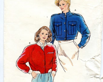 Vintage 80s Kwik Sew 1700 Women's Short Crop Jacket UNCUT Sewing Pattern Sizes XS S M L