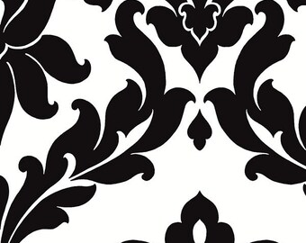 VG26230P Black and White Damask Wallpaper - Yard