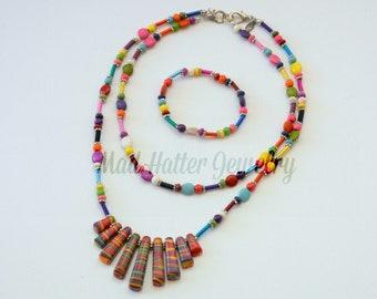 Multi-colored Necklace and Bracelet Set