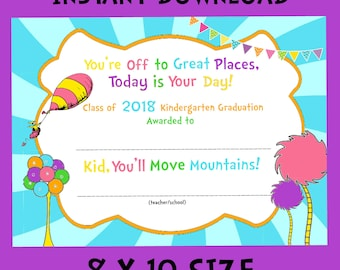 Kindergarten Graduation Certificate 8x10 INSTANT DOWNLOAD