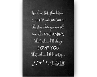 Tinkerbell Quote Chalkboard Poster Digital Download