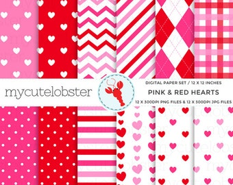 Valentine's Digital Paper - pink & red hearts - patterned paper set, hearts, romance - personal use, small commercial use, instant download