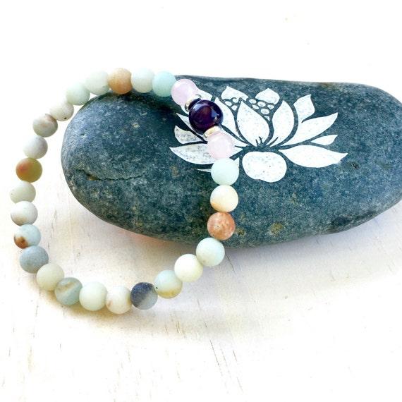Amazonite And Amethyst Bracelet, Natural Healing Jewelry, Rose Quartz, Balance Your Emotions, Yoga Jewelry, Mala Bead Bracelet