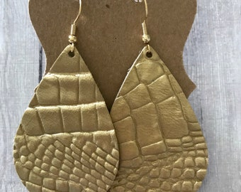 Gold croc textured leather earrings | statement earrings | textured leather earrings | gifts for her