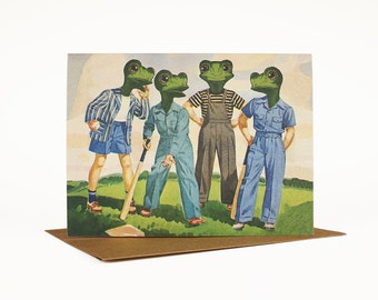 Best Friends Card, Whimsical Note Card, Quirky Retro Vintage Art, Congratulations Card, Birthday Card, Celebration, Frogs, Baseball