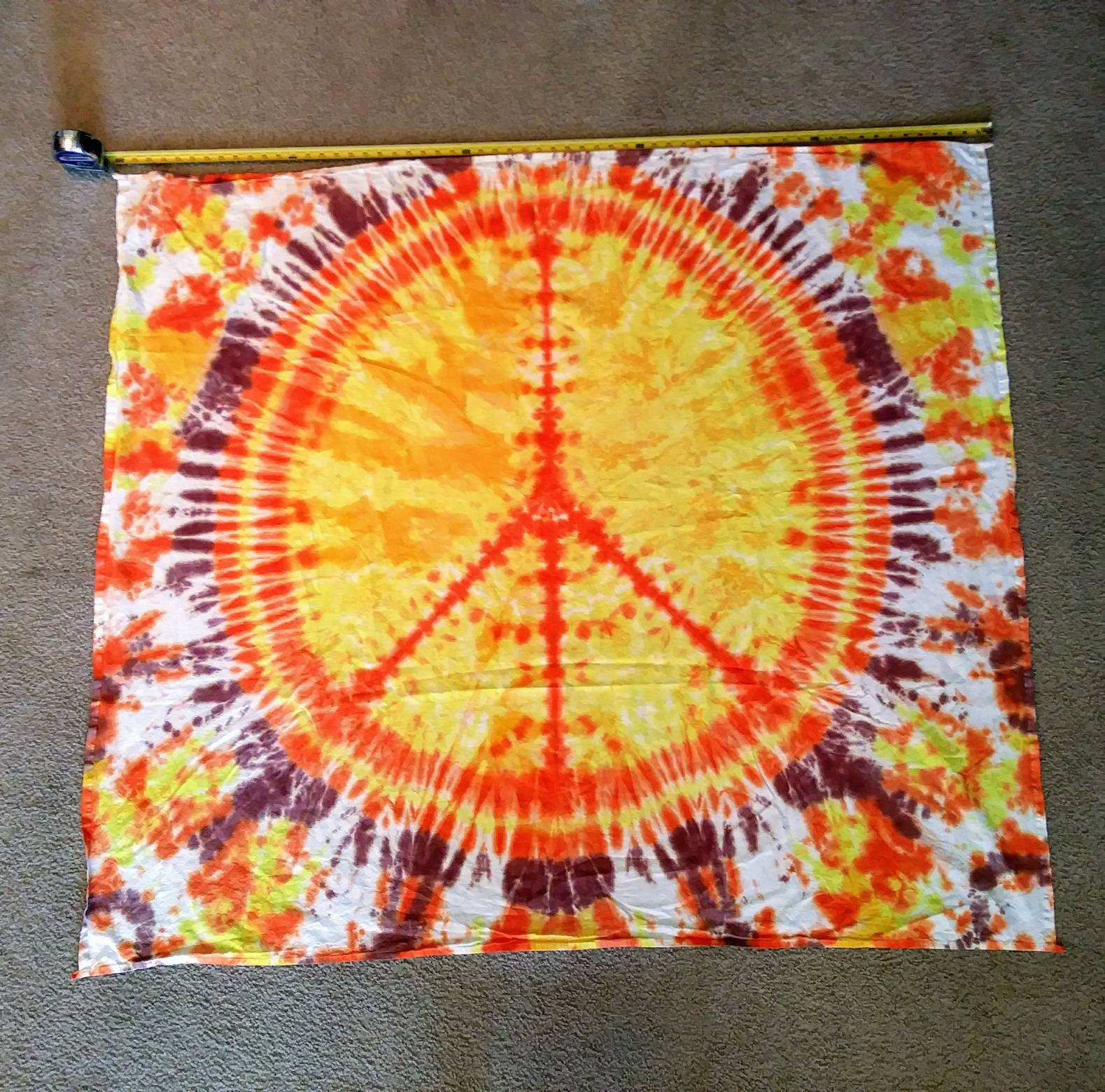 Tie dye tapestry Handmade peace sign
