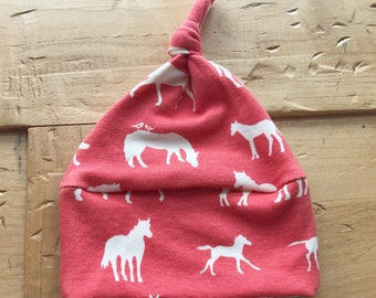 Wild Horses Hat, Organic Cotton, Horse, Baby Girl, Rodeo, Adventure, Coral, Gift, Newborn