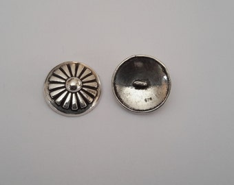 2 Solid Sterling Silver 925 Sewing Costume Round Shank Buttons beads