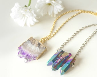 Large angel aura healing crystal necklace rainbow bullet triple rainbow healing crystal necklace quartz silver chain vintage boho galaxy natural aloadofball Gallery