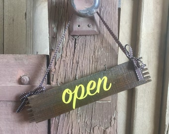 Open / Closed Hanging Wood Sign