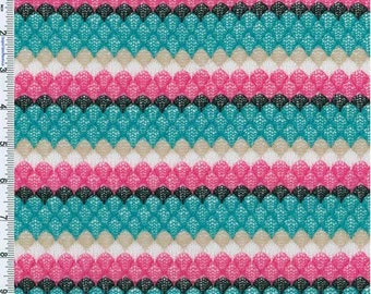 Teal/Pink/Beige Lacey Crochet style Stripe Knit, Fabric By The Yard