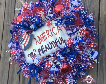 Festive 4th of July Wreath, Patriotic Wreath, Americana Wreath, Memorial Day Wreath, Fourth of July Wreath, Flag Wreath, 4th of July Décor