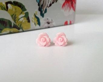 Pink rose studs, pink stud earrings, baby pink studs, pink flower studs, pink rose earrings, small flower studs, rose stud earrings