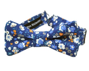 Navy floral bow tie, navy bow ties boys, toddler floral bow tie, boys floral bow tie, infant bow tie, mens floral bow tie, kids navy bow tie