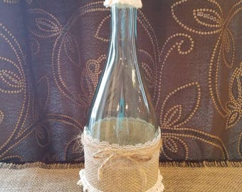 Burlap, Twine and Lace Bottle