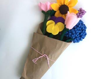 "Felt Flower Bouquet for Kids, Toy Flower Set, Pretend Floral Gift, Kid's Playset, Nature Table Toys, Fake Flower Bundle, ""Full Set"" is shown"