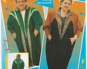 Date's Design Dolman Duster Pattern Wearable Art Plus Size 1X 2X 3X  Trim Ideas Included Applique Piecing Quilting c1994