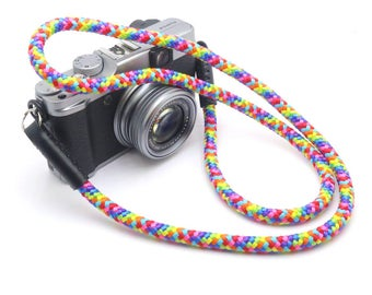 Handmade Rainbow Braided Cord / Rope & Leather Camera Neck Strap - 36 inches / 91 cm