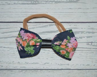Navy floral and leather